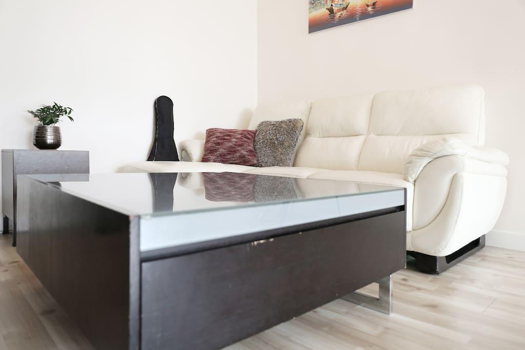 Coffee table and sofa.