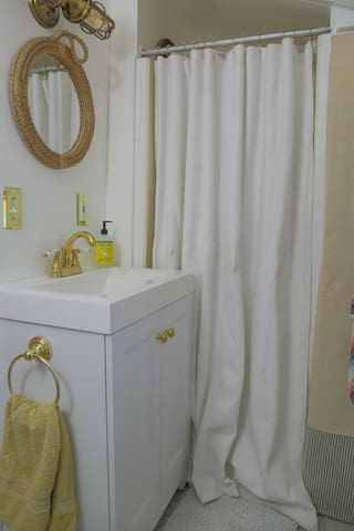 Captain's (read: small) shower. There is an outdoor shower as well for showering post-beach and when the indoor shower is in use!
