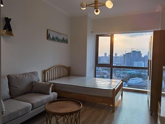 套一公寓,包含各种家具电器,可做饭,原木色风格,梦魔方广场东客站旁地铁直达。