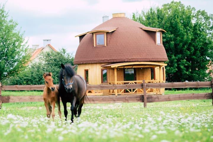 Petite maison ronde à la ferme