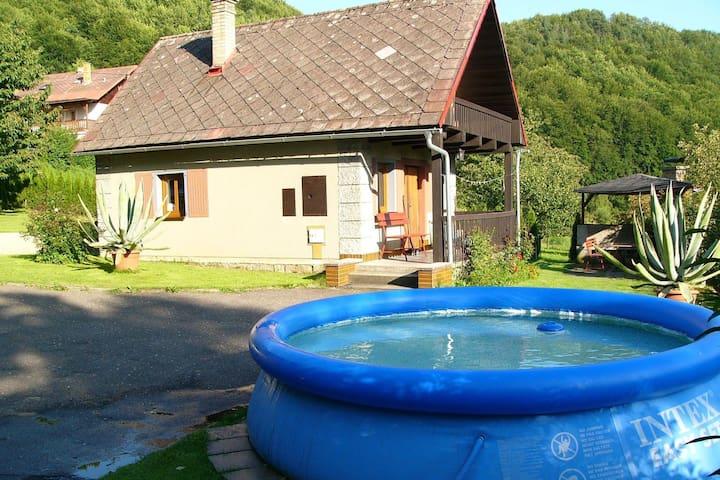 Kleine Ferienhütte mit dem Gartenpool am Ufer des Fluses Jizera
