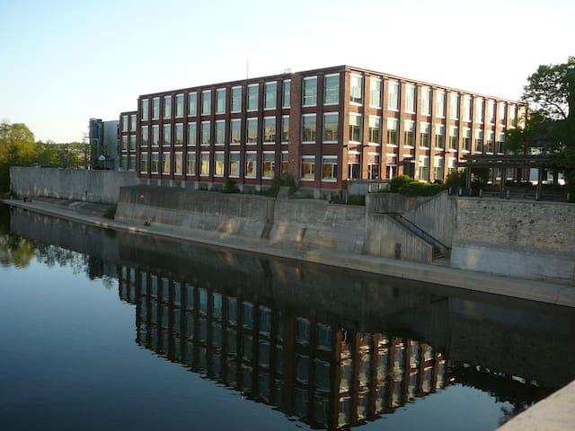 View of the University Of Waterloo Architectural School (Cambridge Campus) from the Main Street bridge.