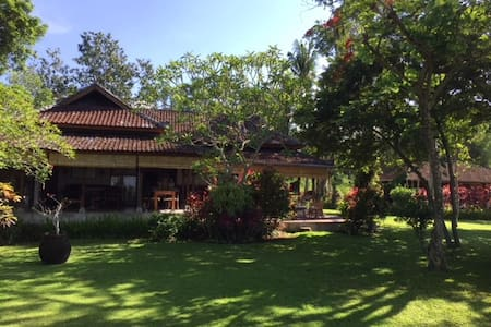 Villa big garden and pool in ricefields near beach
