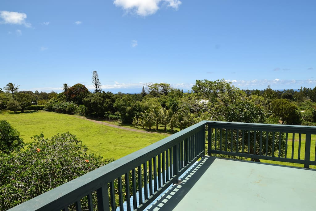 View of Maui and the pasture from the Sundeck Patio.