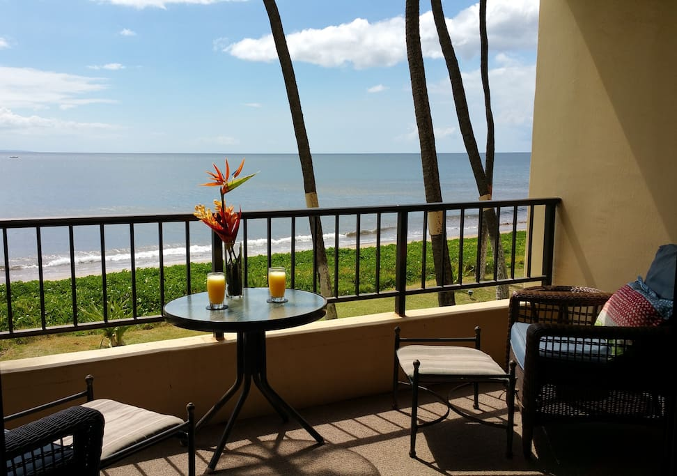 Enjoy a meal with a spectacular view from our lanai.