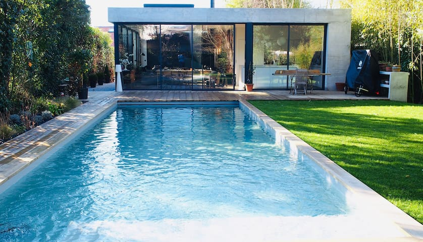 Oasis of greenery and tranquility with swimming pool and sauna