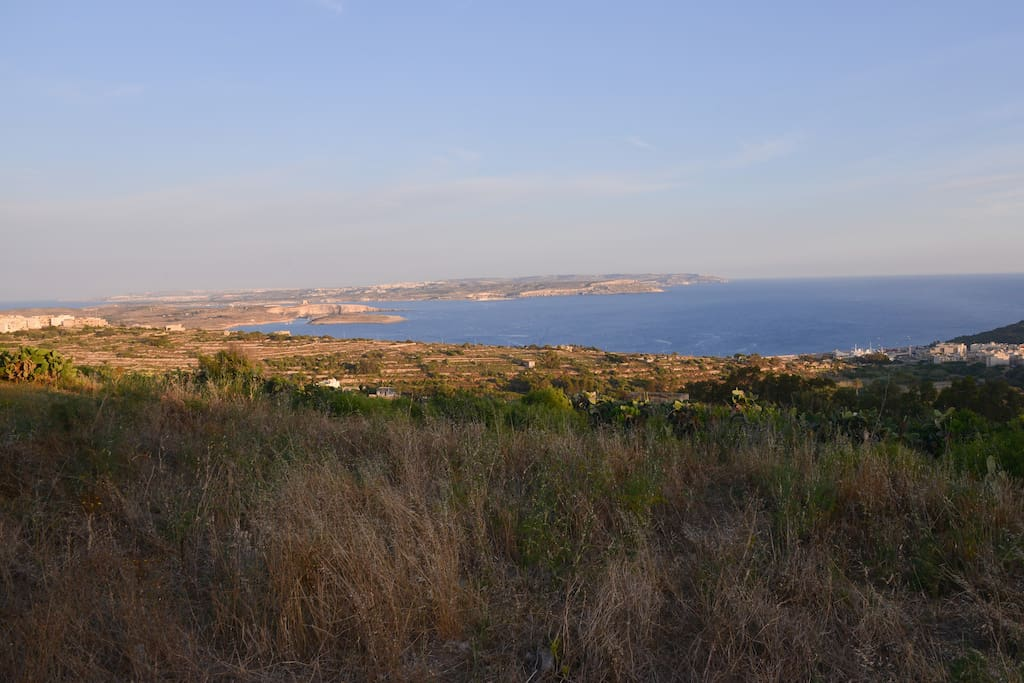 View of Comino and Malta from the terrace and garden