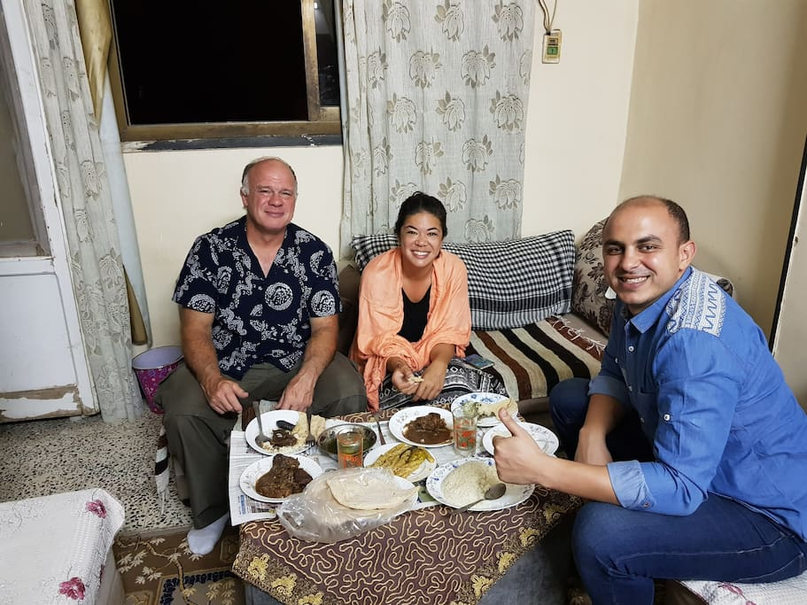 Some times I invite our guests for Egyptian home made food to get the real experience of Egypt .