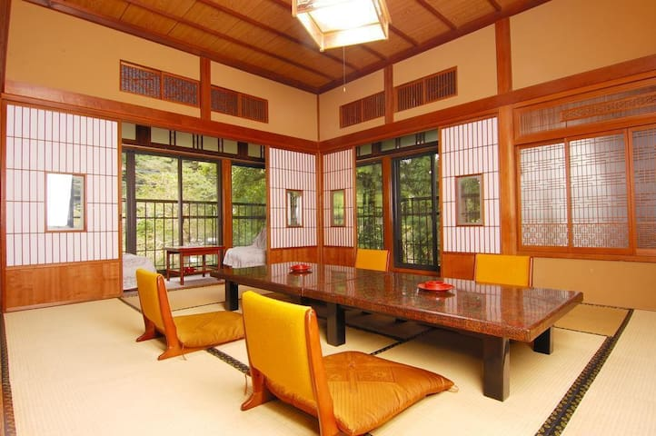 400 Year old Japanese Ryokan Hotel in the Oyama mountain village in Kanagawa Prefecture, Breakfast and Dinner Included