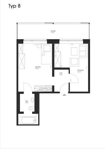 Temporary/Short let apartment (modern building)