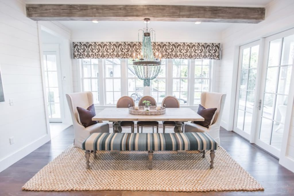 Dining area for up to 10 people overlooking the veranda plus kitchen island seating