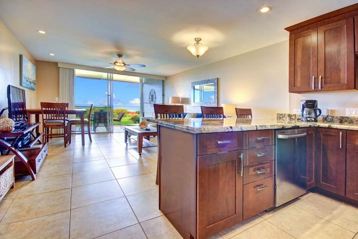 Ocean views from the kitchen and living room - walk directly outside to the beach!