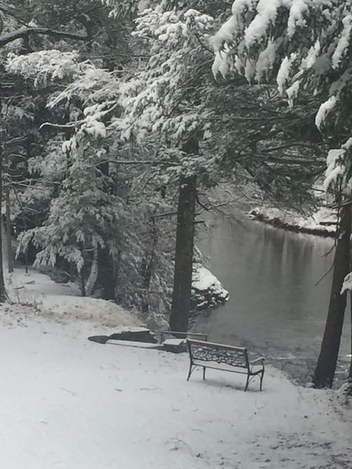 Our first snow highlighting our beautiful stream