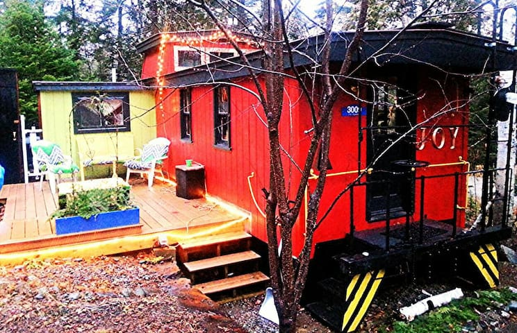 -Restored caboose on mountain