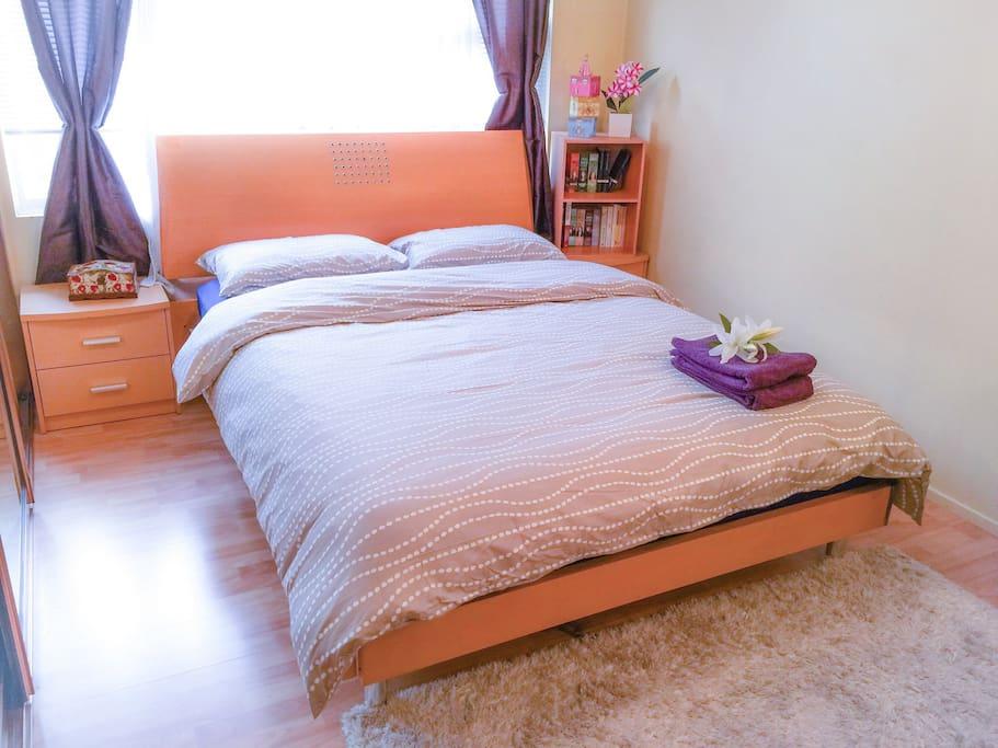 Bedroom - Queen bed - 3 large built in wardrobe on the left, fresh bed linen