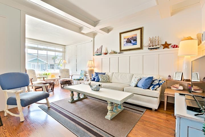 Beach inspired decor in bight , cheerful Living Room area of the Great Room.