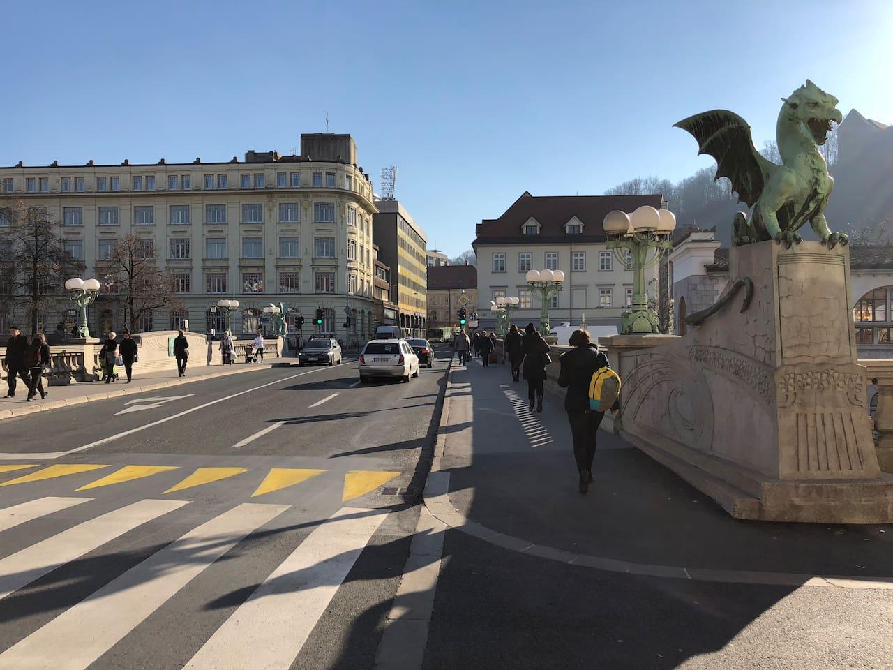 Ljubljana's iconic Dragon bridge is located on my street.