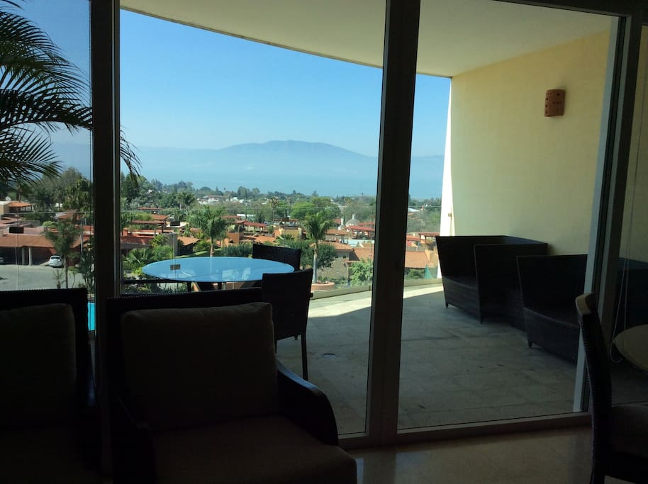 Views from inside condo to terrace