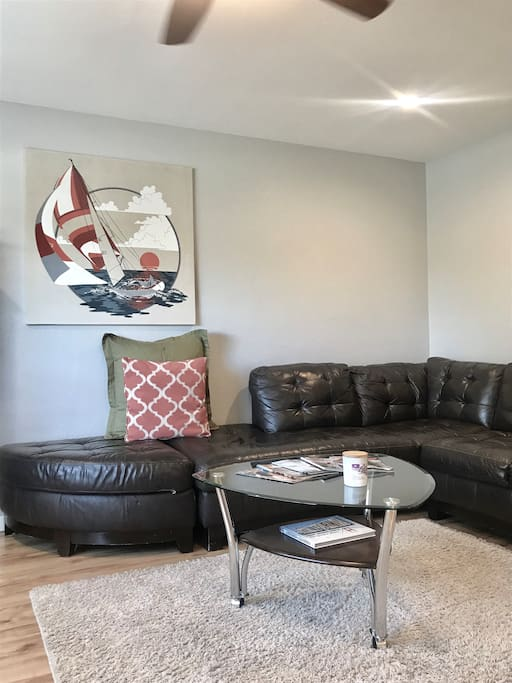 Living room 1 with large leather sectional