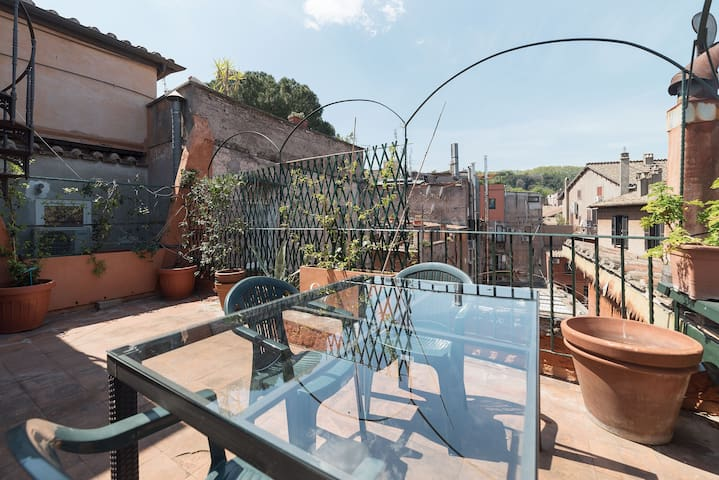 A luminous nest with terrace in Trastevere