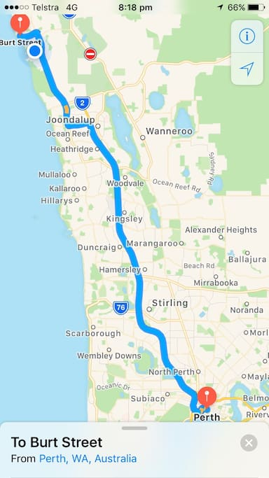 Driving route from Perth