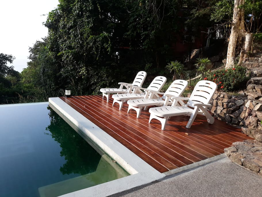 The pool-obviously-very private and with brand new decking!