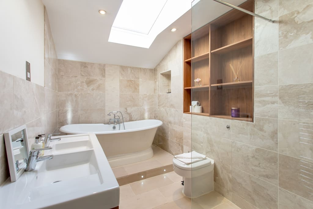 Large bathroom and tub