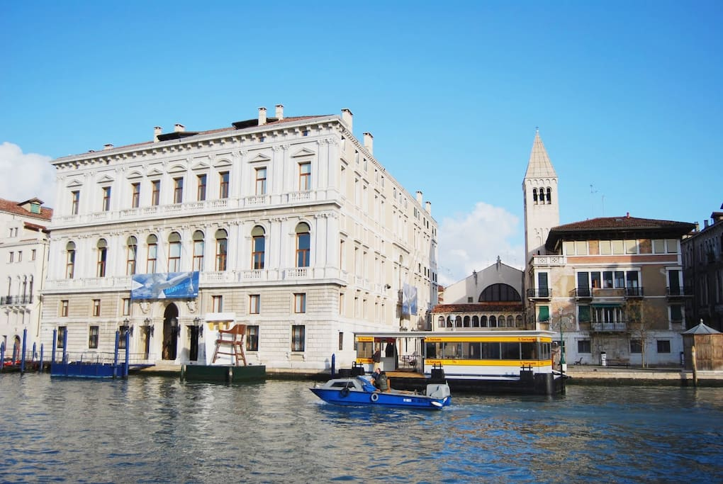 This is the view of palazzo Grassi and its n. 2 vaporetto stop at 50 meters from the apartment