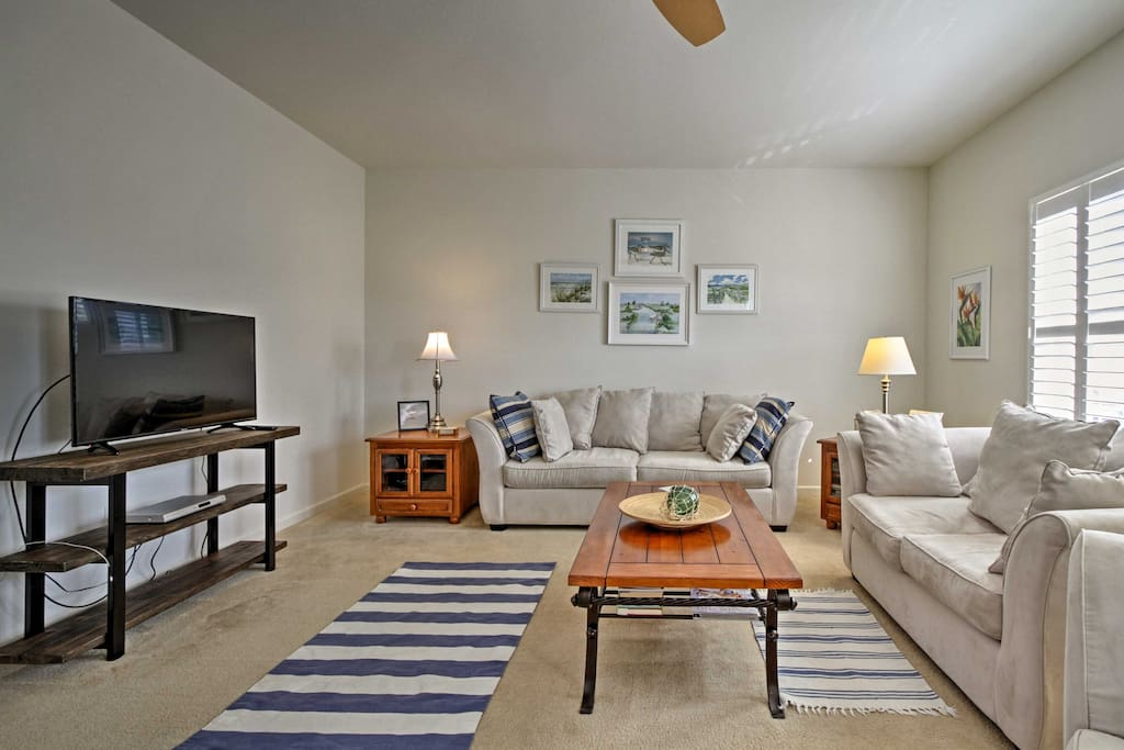 After surfing near Fenwick Island State Park, take a break on the couch.