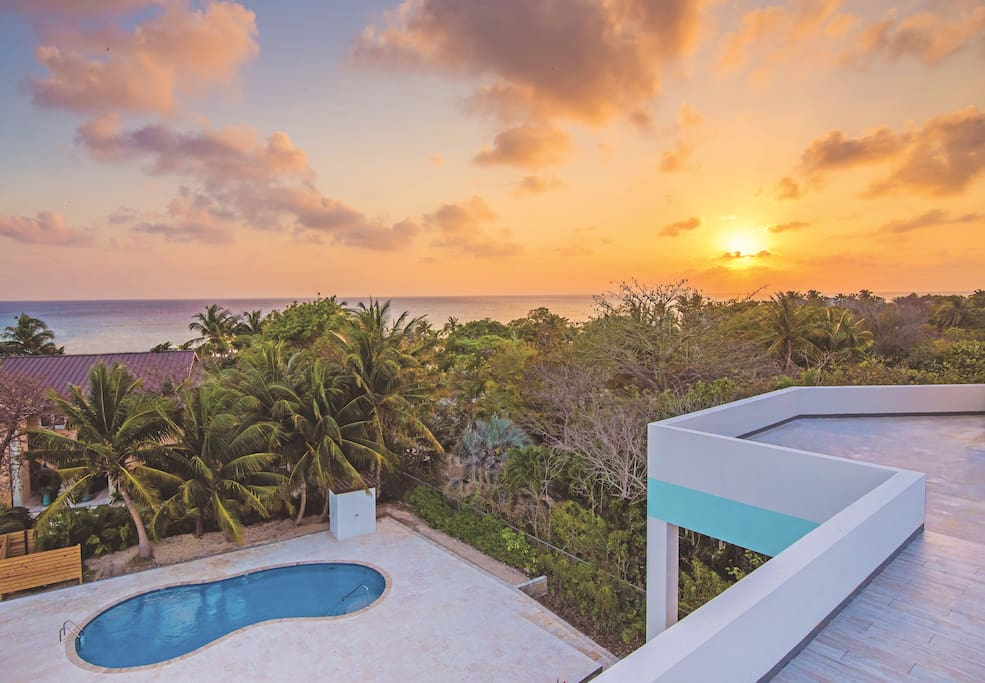 Sunset and Pool view.