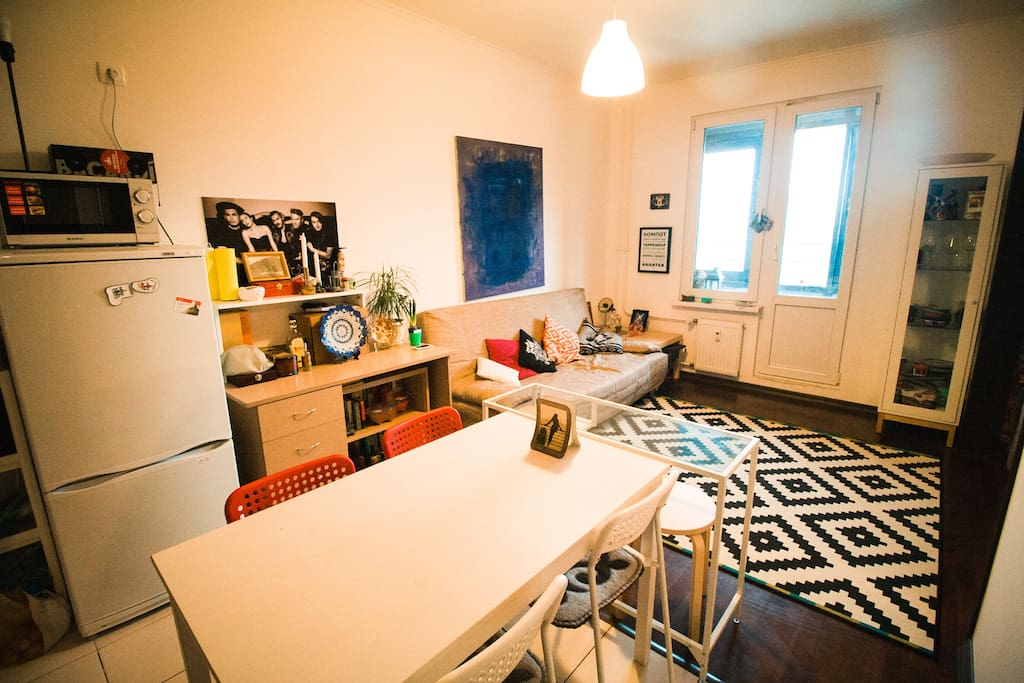 гостиная с кухней, kitchen & living room