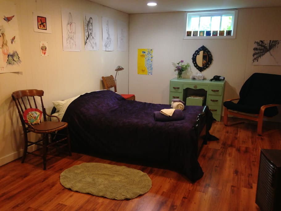Large double bedroom basement suite with 1/2 bath