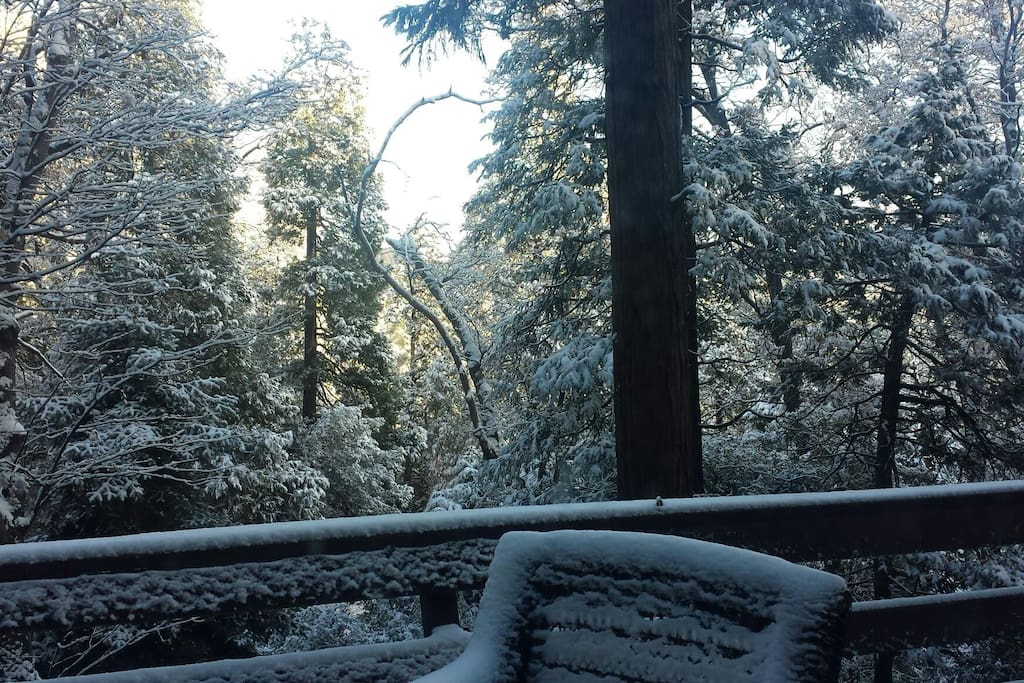 Winter time, fresh snow laying on the Deck.