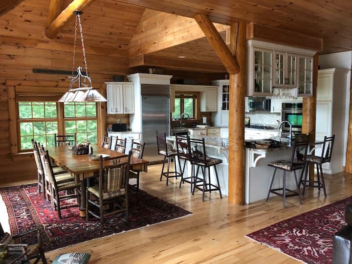 Luxury lake view custom log home on Lake George