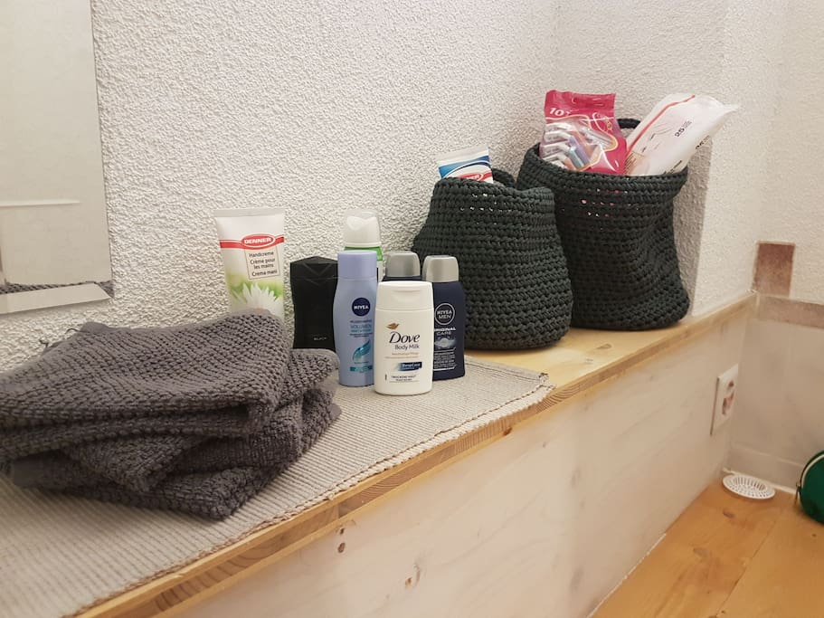 bathroom with basics like shampoo, lotion, hairdryer etc