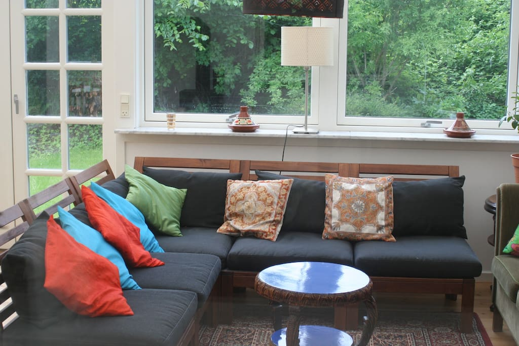 lots of spots to relax in the sunroom