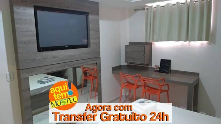 QUARTO COM HIDRO E SERVIÇOS DE HOTEL PARA 2 PESSOAS COM PADRÃO DE QUALIDADE MOSTEL A 20 MIN DO AEROPORTO GRU