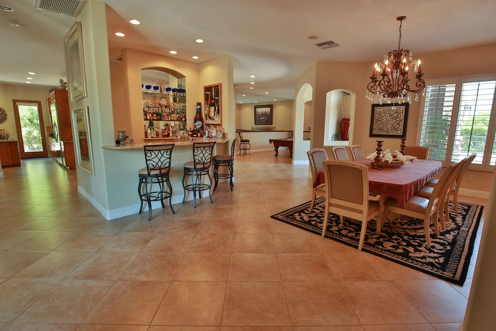 Large entry way to Bar, Dining Room & Pool Table Room.
