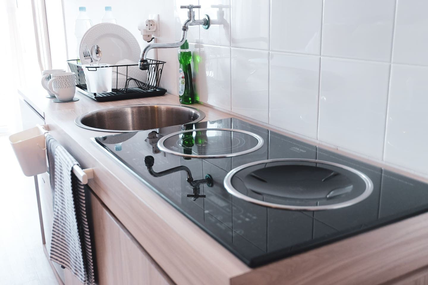 Kitchen with electric stoves