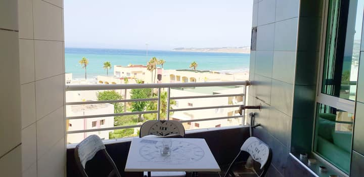 Apartment with one bedroom in Tanger, with wonderful sea view, shared pool and furnished balcony - 50 m from the beach