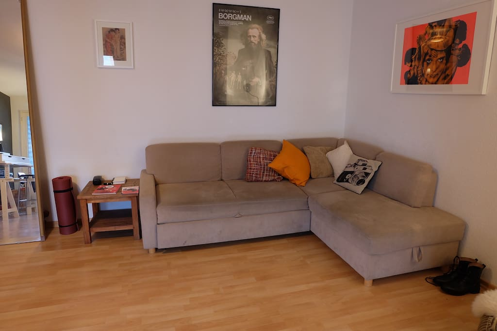 living room, corner sofa easily converts to massive double bed