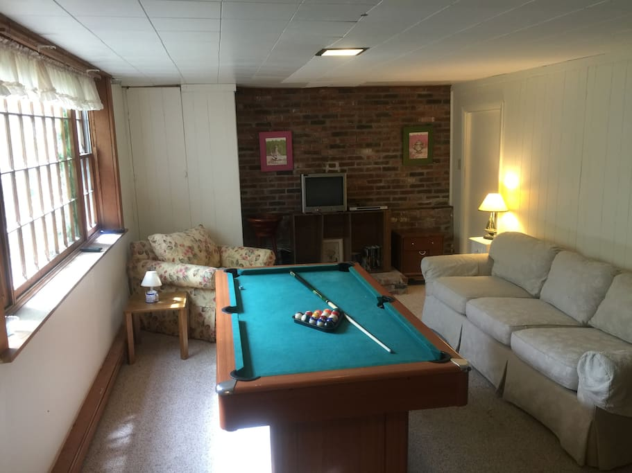 This is the finished basement, with full size window, so it doesn't feel like a basement. We now have a much larger TV here.