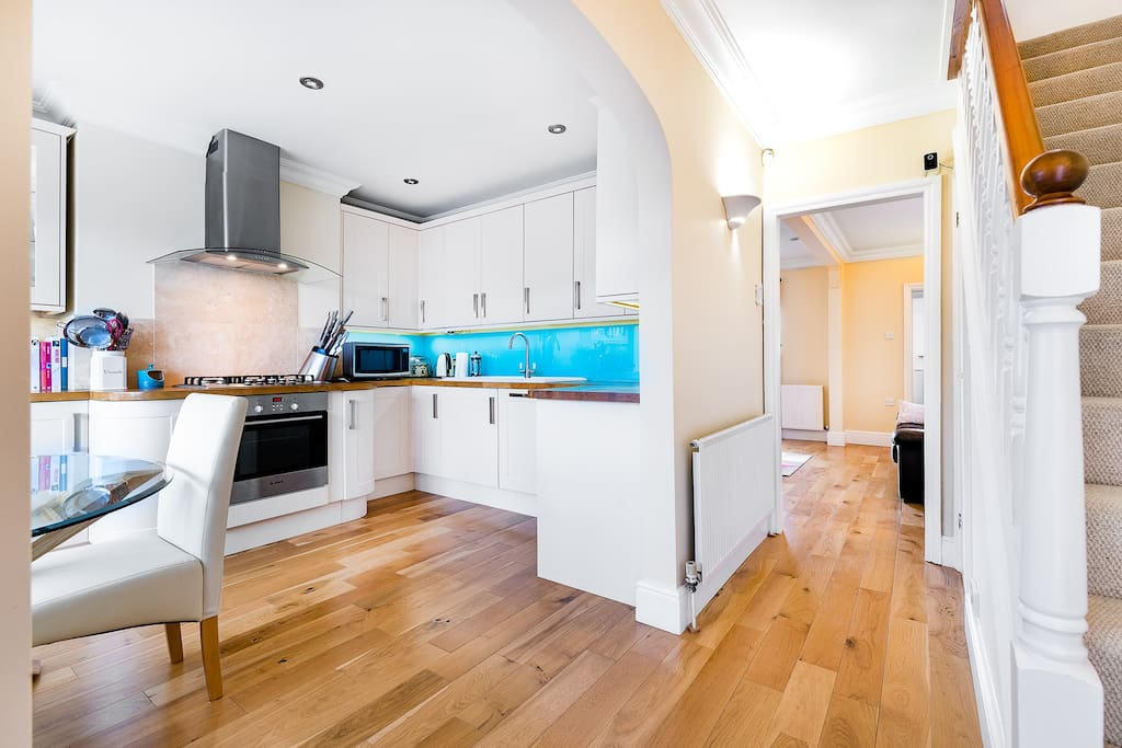 Fully fitted kitchen with dining area.