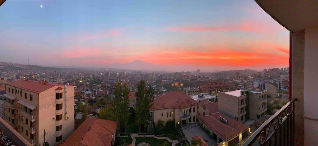 Flat on Cascade with balcony & Ararat view