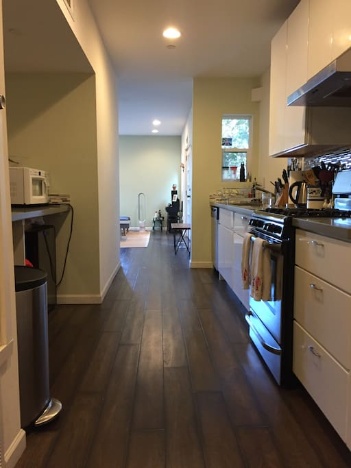 This is our kitchen that leads into into the living room.