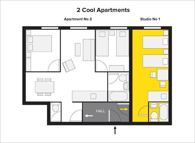 Studio  No1 ( yellow),  shared hallway (gray),  apartment No2 (white)