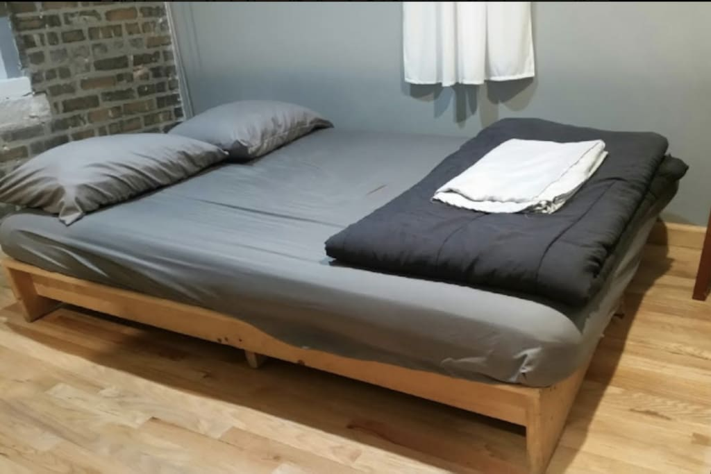 Full size bed folds into futon if prefered.