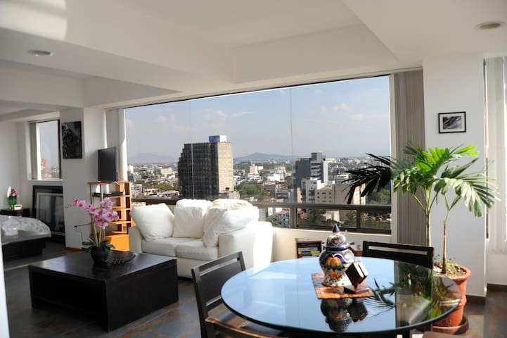 Enjoy great views of Mexico City.