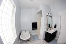 HUGE bathroom with separate shower and claw-foot tub!