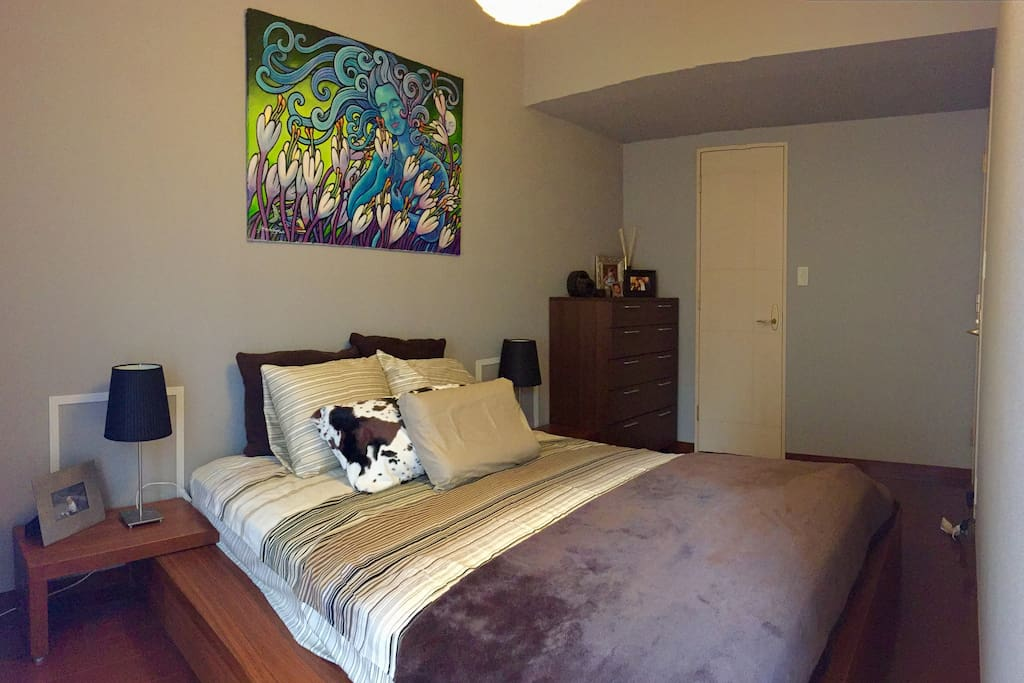 Master bedroom with large queen bed